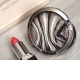 Murano art deco round compact mirror silver and burgundy glass