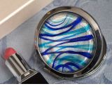 Murano art deco round compact mirror silver and blue colored glass