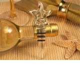 Murano art deco starfish design stopper gold and white colors