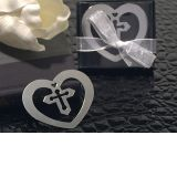 Heart Shaped Chrome Metal Bookmark with Cross