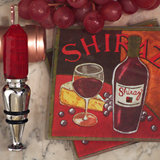 Murano collection Red wine design Coaster and bottle stopper set