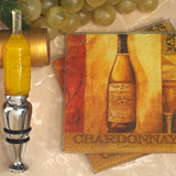 Murano collection White wine design Coaster and bottle stopper set