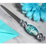 Stunning Murano art silver and teal letter opener