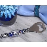 Dazzling Murano art blue and white bottle opener