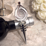Murano teardrop silver and black swirl bottle stopper