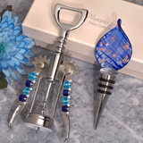 Murano teardrop design blue and gold bottle stopper and opener set