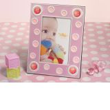 Pink 4 x 6 Baby frame with pink glass bead accents