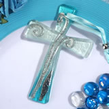 Murano style cross collection blue and silver design