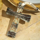 Murano style cross collection brown and silver wave design