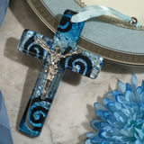Murano style cross collection blue and silver swirl design with Christ