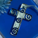 Murano style cross collection blue and silver swirl design