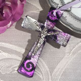 Murano style cross collection lilac and silver swirl design with Christ