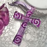 Murano style cross collection lilac and silver swirl design