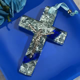 Murano art deco cross collection blue and silver pebble design