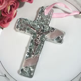 Murano art deco cross collection pink and silver pebble design