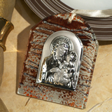 Murano art deco collection hanging icon brown and silver wave design