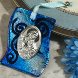 Murano art deco collection hanging icon silver and blue swirl pattern glass