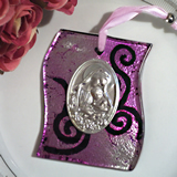 Murano art deco collection hanging icon silver and lilac swirl pattern glass