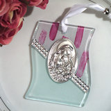 Murano art deco collection hanging icon white and pink s-shape glass