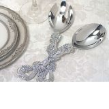 Signature Collection By Cassiani Chrome Salad  Server set with Grapes design