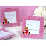 Adorable pink teddy bear glass photo frame