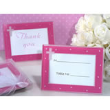 Blessed event pink cross glass photo frame