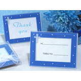 Blessed event blue cross glass photo frame