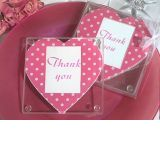 Pink and White dot heart design photo coaster