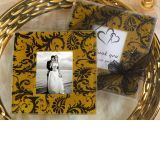 A Classic Damask gold and black design photo coaster.