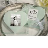 Unique square glass photo coaster with heart design cut out.