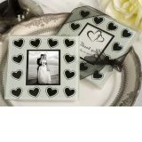 Black and white hearts theme photo coaster