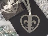 Mark it with memories Fleur de lis within heart design bookmark