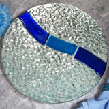 Murano bling silver and blue pebble design round tray