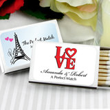 Personalized Matches - Set of 50 (White Box): Heart Designs