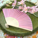 Pink Silk Wedding Fans