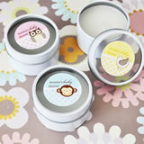 Baby Animals Personalized Round Travel Candle Tins
