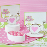 Teapot Place Card Favor Boxes with Designer Place Cards (set of 12)