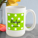 Personalized Polka Dots Coffee Mug (6 Colors Available)