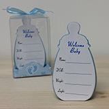 3D Blue Baby Bottle with Baby Info - CLOSEOUT