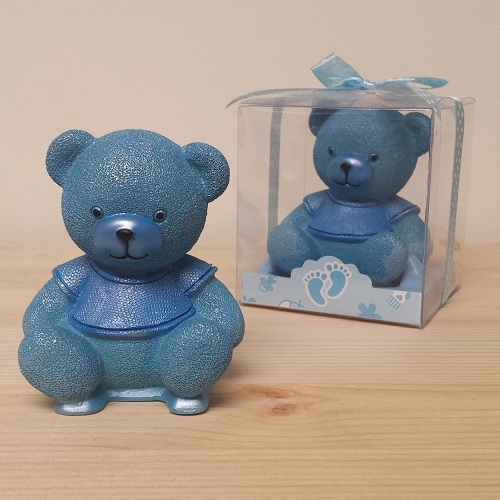 Cute Blue Teddy Bear Sitting Favor - CLOSEOUT