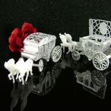 Silver Cinderella Style Horse with Fillable Carriage