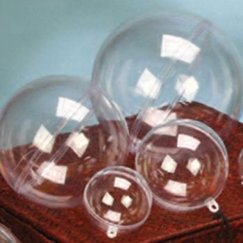 12 Plastic Transparent Fillable Spheres - 2.75