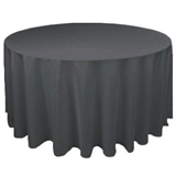 "96"" Round Black Linen-Look Table Cover"
