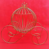 Large Gold Wire Pumpkin Coach Carriage Centerpiece