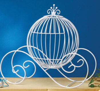 Large White Wire Pumpkin Coach Carriage Centerpiece