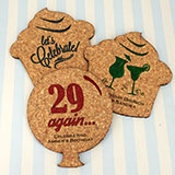 Adult Birthday Theme Shaped Cork Coaster