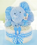 Gingham & Giggles One Tier Diaper Cake-Boy