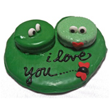 "Hand Decorated ""Love Frogs"" Cookie"